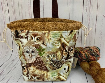 Woodland Owls, Shocks (Socks to Shawl Bag), Knitting project bag, Crochet project bag, Shawl knitting bag, Sock Knitting bag