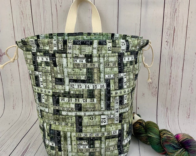 Green Ruler Bag, Twisted Bucket bag, Knitting project bag, Crochet project bag,  Project Bag, Yarn bowl, Large Project bag