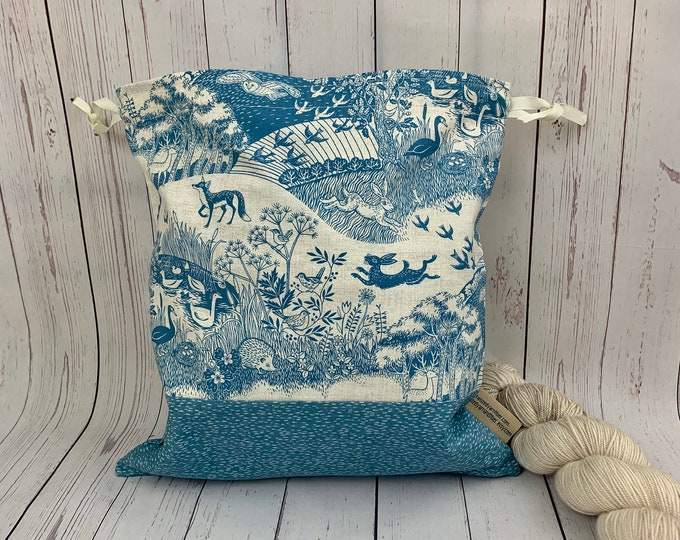 Woodland Toile, Knitting Project Bag, Crochet Project Bag, Yarn Bag, Fiber Project Bag, Sock knitting bag, Shawl projec