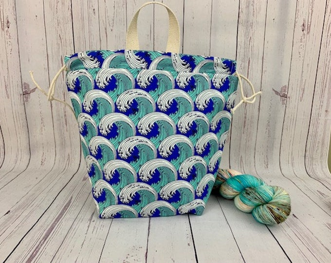 Sea Waves, Twisted Bucket bag, Knitting project bag, Crochet project bag,  Project Bag, Yarn bowl, Large Project bag