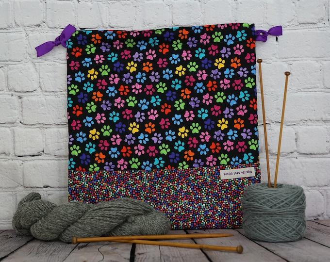Dog or Cat Paw print bag,  Knitting Project Bag, Crochet Bag, Yarn Bag, Shawl project bag, Project Bag, Sock knitting bag