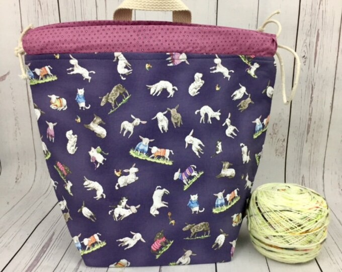 Sheep in Sweaters, Bucket bag, Knitting project bag, Crochet project bag,  Project Bag, Yarn bowl, Large Project bag