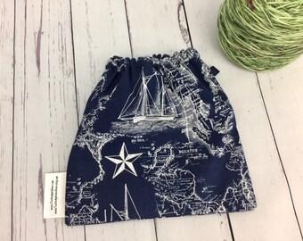 Nautical , Yarn Ball bag, Yarn Bowl, Yarn Holder, Yarn Cozy