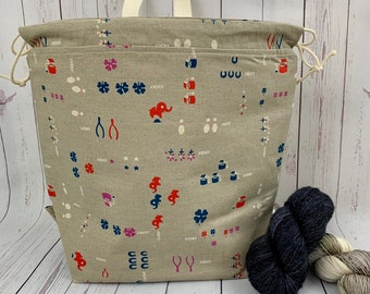 Lucky Signs, Twisted Work Bag, Large Canvas project bag w/ full length pocket, Shawl /Sweater Knitting, Crochet Project, Needle Arts bag