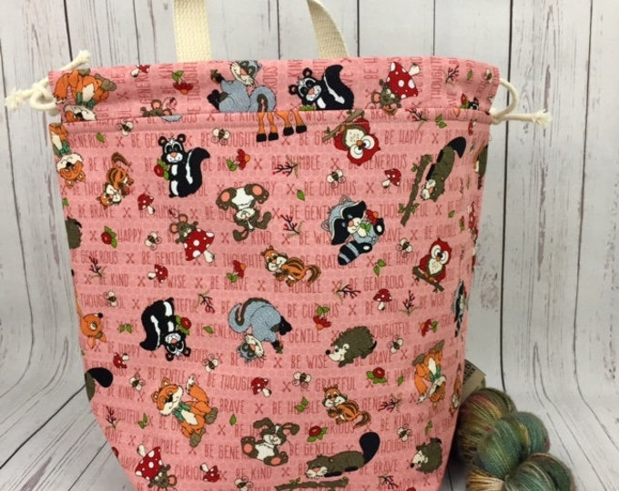 Woodland Animals, Bucket bag, Knitting project bag, Crochet project bag,  Project Bag, Yarn bowl, Large Project bag