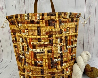 Rustic Wood Rulers, Shweater bag, XL Project bag, Knitting bag, Crochet project bag,  Project Bag, Sweater knitting bag, Shawl Knittin