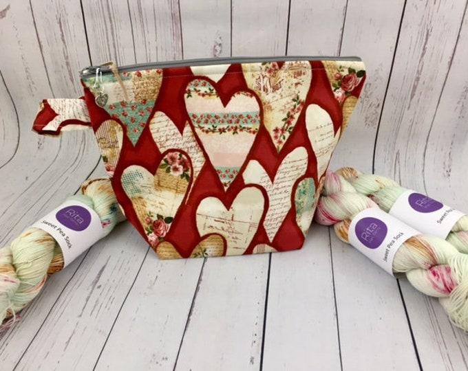 Vintage Valentine Collaboration Set in Red- Knitting Bag/ 1 Skein Sock Yarn/ 1 Heart Stitch Marker
