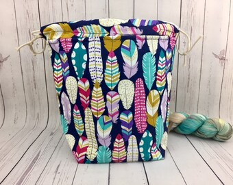 Feathers, Bucket bag, Knitting project bag, Crochet project bag,  Project Bag, Yarn bowl, Large Project bag