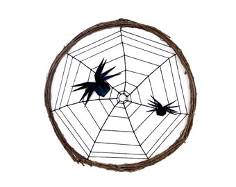Origami Paper Spiders on a Handwoven Spiderweb Wreath
