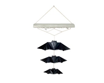 Origami Paper Bat Wall Hanging featuring DesignsbyFur Raw Crystal & Gold Leaf Concrete Art Piece