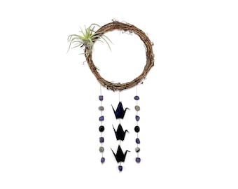 Origami Paper Crane Faux Air Plant Wreath with Stone and Lava Rock Beads [coco91]