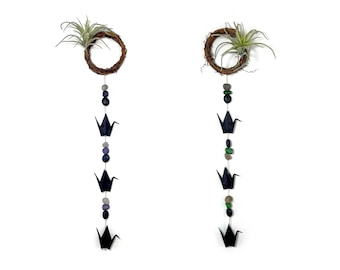 Origami Paper Crane Mini Wreath with Stones, Lava Rock Beads and (optional) Faux Air Plant [coco90]
