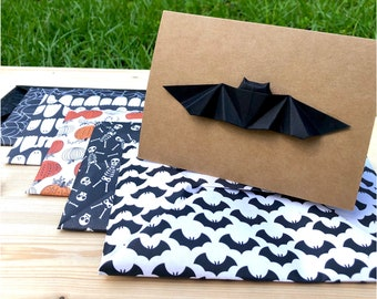 Origami Bat Blank Greeting Card with your choice of Origami Envelope [halloween edition!]