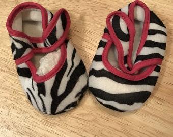 Zebra Print Booties -- Pink Trim