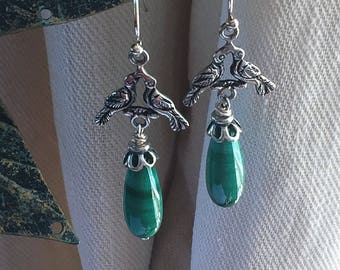 Malachite Peruvian Colonial style silverwork earrings