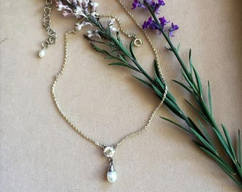 Necklace with  Rock Crystal, freshwater pearl and Sterling Silver