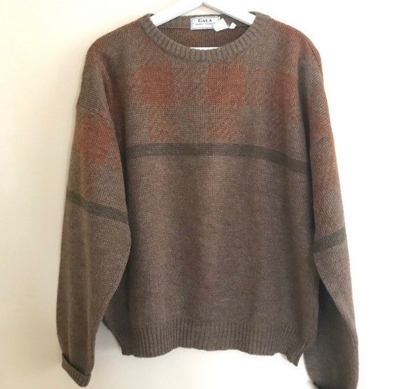 Wool Sweater ~ Women/'s  ~ Vintage Avoca Handweavers ~ Zipper Front ~ Warm Brown Earth Tones ~ Front Pockets