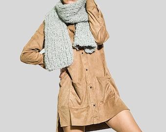 Infinity knit wool alpaca scarf winter/ Grey knitted unisex scarf/ alpaca scarf/ by sonqo