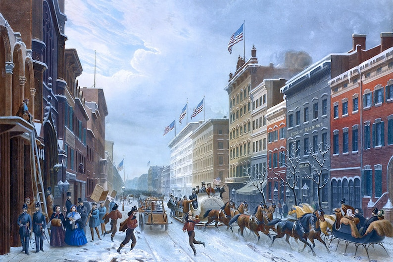 Hand-cut wooden jigsaw puzzle for adults c1857 Old Winter Scene in Broadway New York