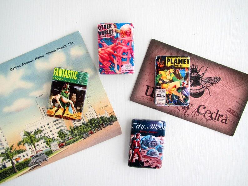 SciFi Vintage Mens Adventure Stories Magazine Covers Pulp Fiction Magnets Fridge Magnet Refrigerator Housewarming Kitchen Decor Small Gifts