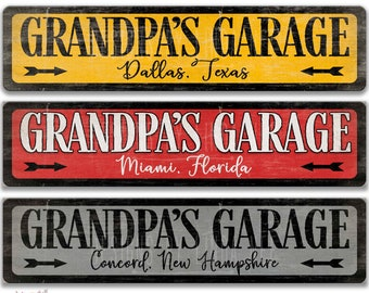 Personalized Grandpa Parking Sign Custom Grandfather Grandfather`s Day Gift Idea