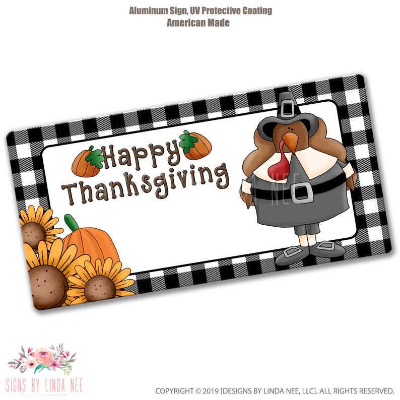 Happy Thanksgiving Sign Pilgrim Sign Wreath Supplies SHO45 Auto Accessories Fall Wreath License Plate Turkey Sign Craft Supplies
