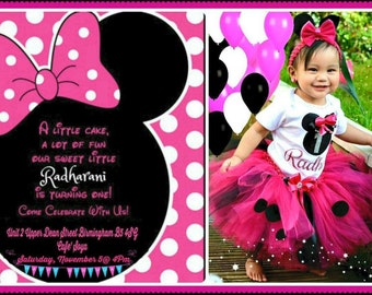 Minnie Mouse Theme Personalised Unique Invitation Photo For Your Little One