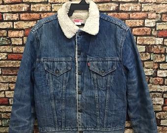 4f0749be26 MEGA SALE !! Vtg Levis Trucker Jacket Sherpa Lining Made in Usa Denim Jacket