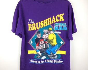 MEGA SALE !! Vtg 90s The Brushback Softball Bar Nice Print Sportwear Brand