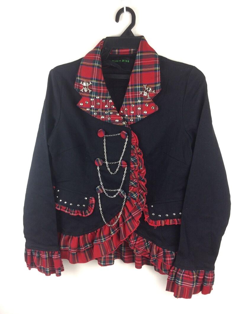 MEGA SALE ! Punk Design Blazers For Women Red Plaid Tartans Rare Design Punks Brand Seditioneries Bondage