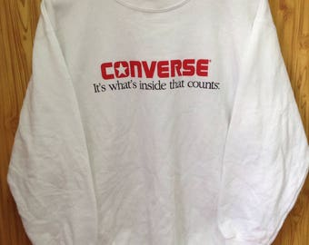 MEGA SALE !! Vtg Converse Sweatshirt Made In Usa Large Size White Colour