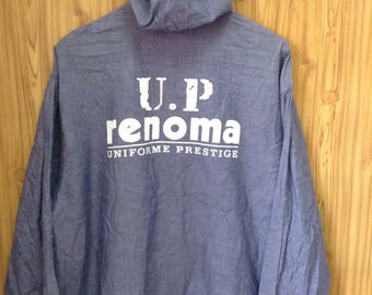 MEGA SALE !! Vtg Renoma Up Uniform Prestige Sweater Hoodies Full Zipper Big Logo On Back Large Size