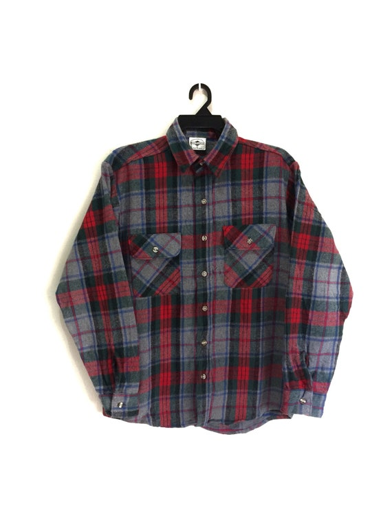 1ce139fcf8a CRAZY SALE !! Free Country Union Made Flannel Shirt Made in Usa Plaid  Design Button Ups With Pocket