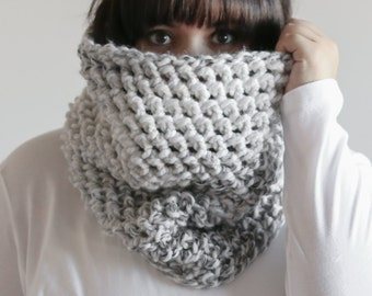 Chunky Cowl Scarf Hood Thermal Warmer | THE BALLYCLARE in Grey Skies