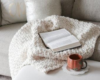 Chunky Wool Throw Blanket Crochet Knit Afghan | THE SKOGAFOSS in Fisherman