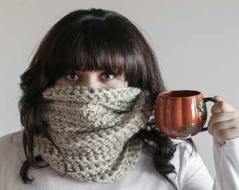 Chunky Infinity Scarf Ribbed Cowl | THE MULLAGHBRACK in Oatmeal
