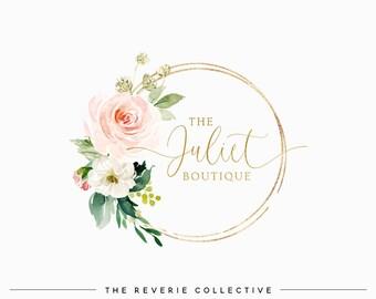 Floral Bouquet Logo, Gold Foil Logo, Round Logo, Feminine Logo, Wedding Logo, Florist Logo, Photo Logo, Premade Logo Design