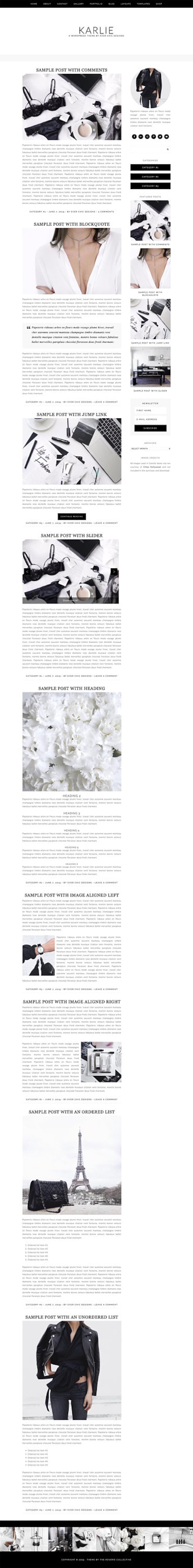 WordPress Theme WordPress Ecommerce Theme Fashion Blogger Theme Wordpress Blog Theme Karlie Instant Digital Download Genesis Theme