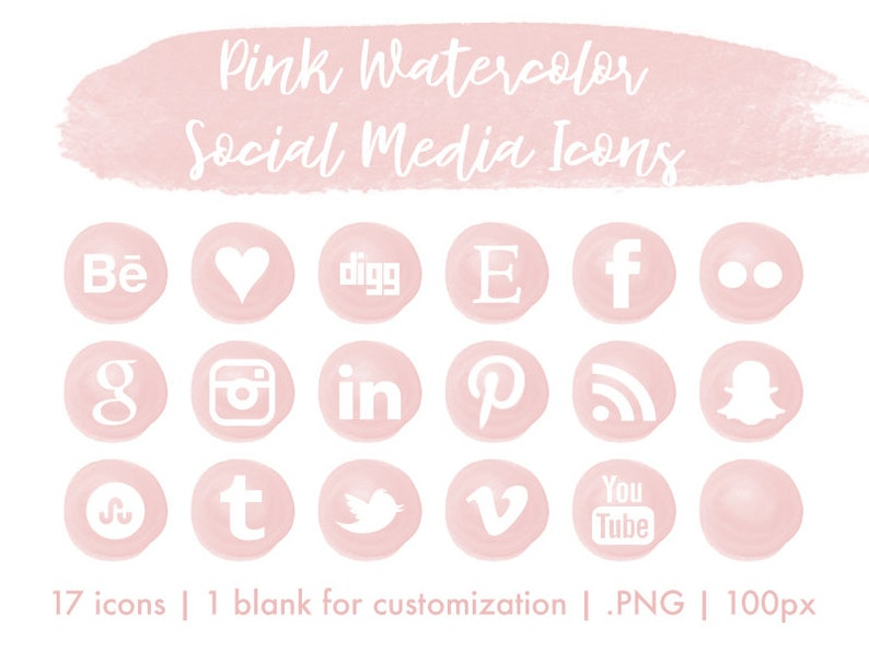 Social Media Icons 18 Icones Aquarelle Roses Feminins Set