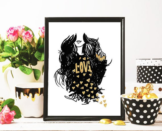 Heart of Gold Modest Fashion Illustration Print