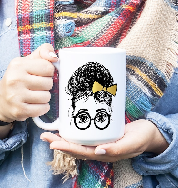 Ashley Glasses Girl Topknot Gold Bow Illustration Coffee Mug
