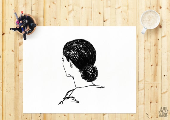 Lola Modest Fashion Hair Bun Illustration Print