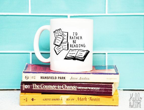 I'd Rather Be Reading Hand Lettering Coffee Mug