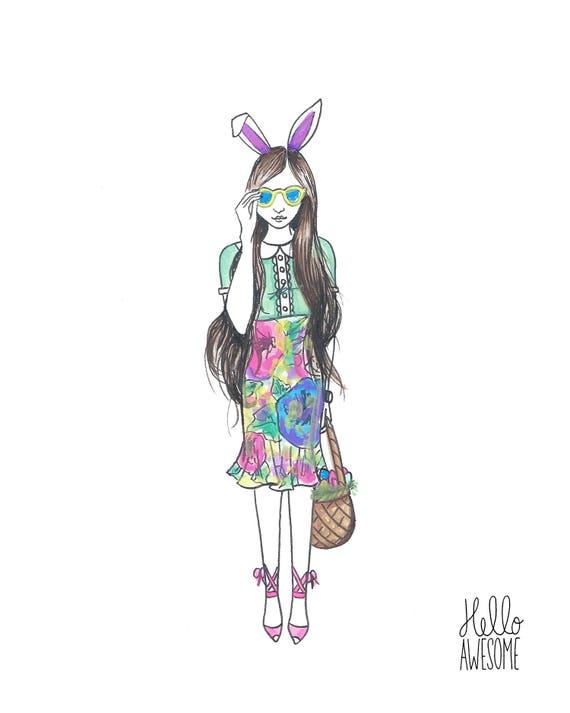Bunny Honey Watercolor Modest Fashion 8x10 Print
