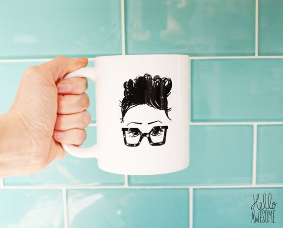 Chloe' Glasses Girl Topknot Illustration Coffee Mug