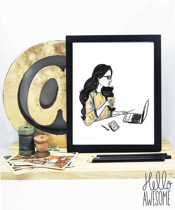Goals & Coffee Watercolor Illustration Print