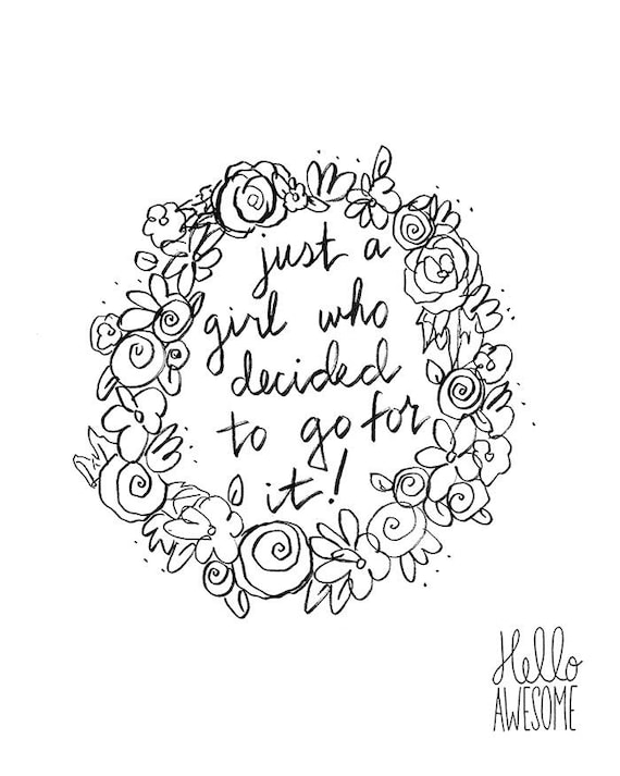 Go For It Floral Wreath Hand Lettered Quote 8x10 Print