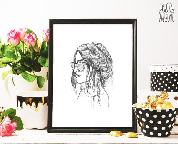 Sofia Braid Modest Fashion Illustration Print