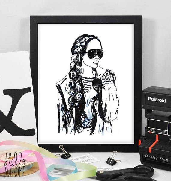 Brittany Modest Fashion Illustration Print