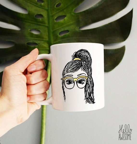 Tia Glasses Girl High Ponytail Gold Glasses Illustration Coffee Mug